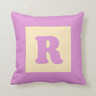 Baby building block throw pIllow letter R pink