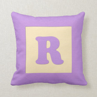 Baby building block throw pIllow letter R (purple)