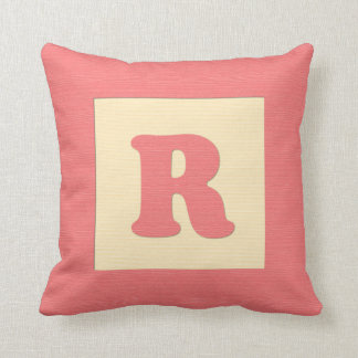 Baby building block throw pIllow letter R red
