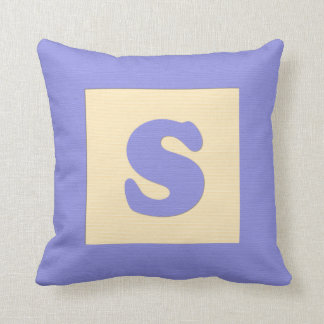 Baby building block throw pIllow letter S (blue) Throw Cushion