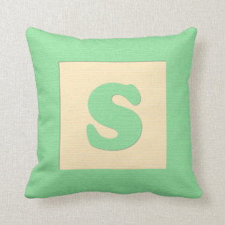 Baby building block throw pIllow letter S (green) Throw Cushion