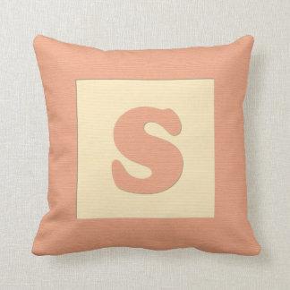 Baby building block throw pIllow letter S orange
