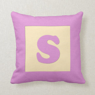 Baby building block throw pIllow letter S pink