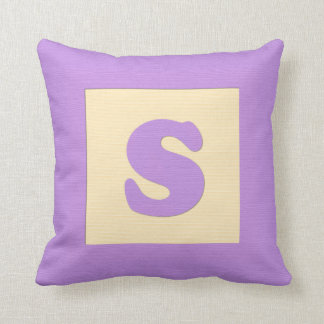 Baby building block throw pIllow letter S purple