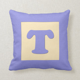 Baby building block throw pIllow letter T blue