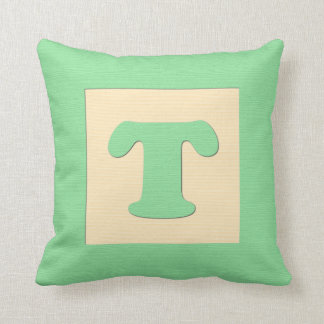 Baby building block throw pIllow letter T (green)