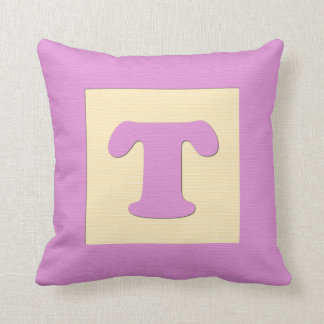 Baby building block throw pIllow letter T pink