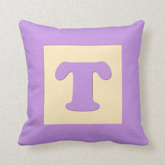 Baby building block throw pIllow letter T (purple)