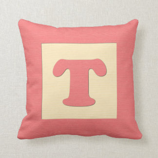 Baby building block throw pIllow letter T red