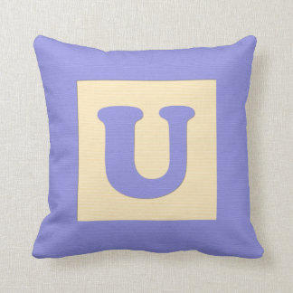 Baby building block throw pIllow letter U blue
