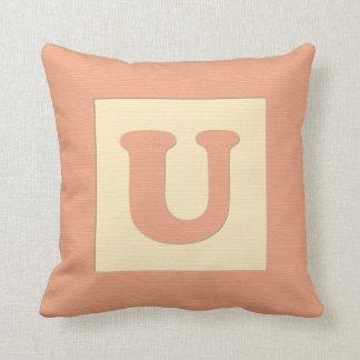 Baby building block throw pIllow letter U (orange) Cushion