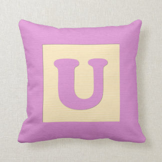 Baby building block throw pIllow letter U pink