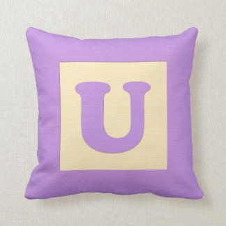 Baby building block throw pIllow letter U (purple) Cushion