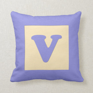 Baby building block throw pIllow letter V blue