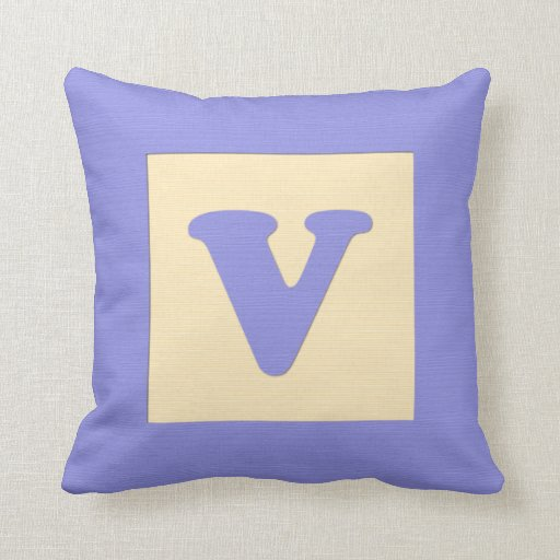 Baby building block throw pIllow letter V (blue)