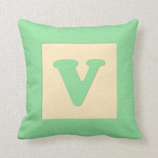 Baby building block throw pIllow letter V (green)