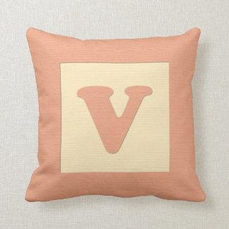 Baby building block throw pIllow letter V (orange)
