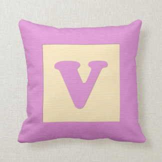 Baby building block throw pIllow letter V pink