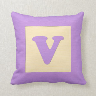 Baby building block throw pIllow letter V (purple)