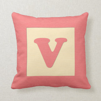 Baby building block throw pIllow letter V red