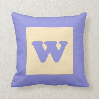 Baby building block throw pIllow letter W blue