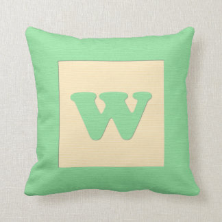 Baby building block throw pIllow letter W green