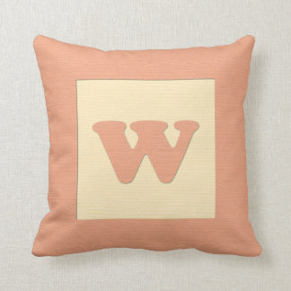 Baby building block throw pIllow letter W (orange)