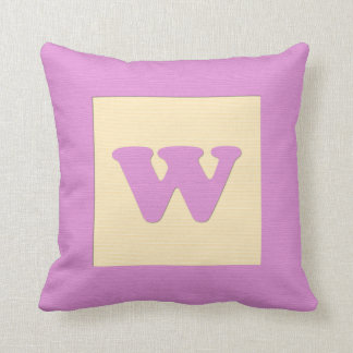 Baby building block throw pIllow letter W pink