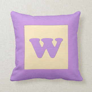 Baby building block throw pIllow letter W (purple)