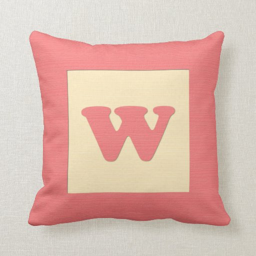 Baby building block throw pIllow letter W (red)