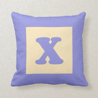 Baby building block throw pIllow letter X blue