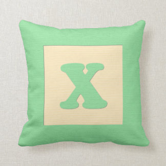 Baby building block throw pIllow letter X green