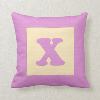 Baby building block throw pIllow letter X pink