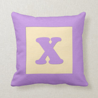 Baby building block throw pIllow letter X purple