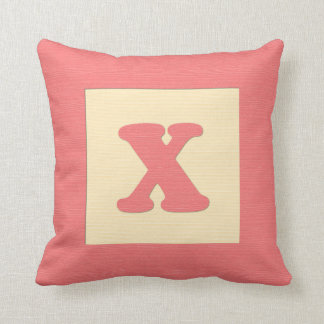 Baby building block throw pIllow letter X red