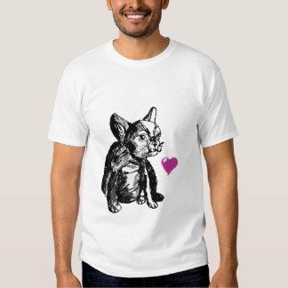 Baby  Bulldog Dog Heart Men's Basic T-Shirt, White Shirts