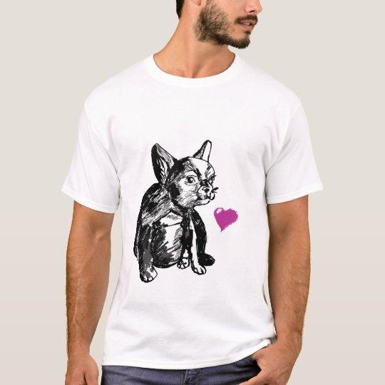 Baby Bulldog Dog Heart Men's Basic T-Shirt, White