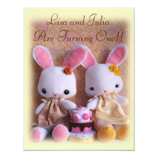 Baby Bunnies Elegant Twin Girls Birthday Invites