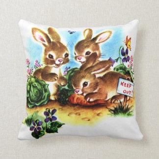 Baby Bunnies in the Garden Vintage Storybook Art Cushion