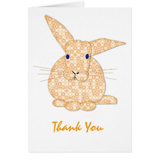 Baby Bunny Applique Yellow Thanks Card