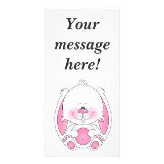 Baby Bunny Cartoon Photo Greeting Card