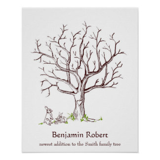 Baby Bunny Fingerprint Tree Guestbook Poster
