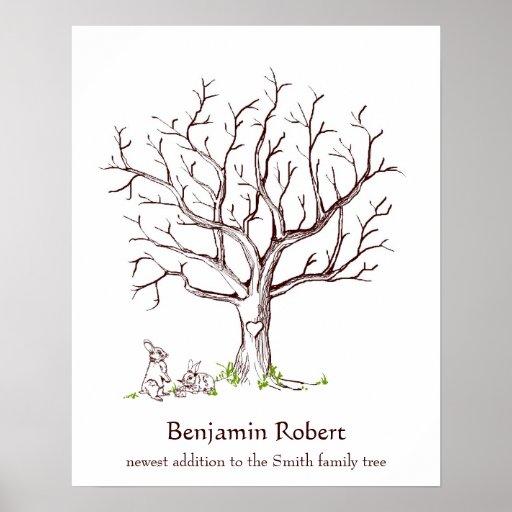 Baby Bunny Fingerprint Tree Guestbook Poster
