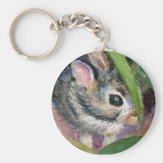 Baby Bunny Hiding Basic Round Button Keychain