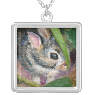 Baby Bunny Hiding Silver Plated Necklace