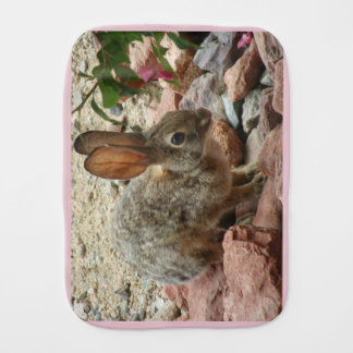 Baby Bunny in Pink Burp Cloth