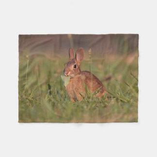 Baby bunny in the grass fleece blanket
