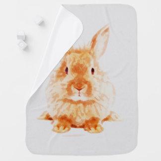 Baby Bunny Watercolor Nursery Print Baby Blanket