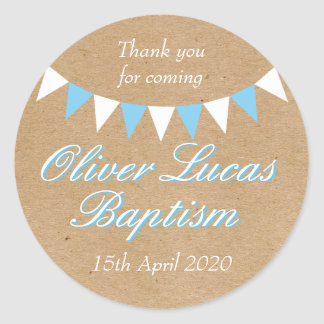 Baby Bunting Blue Baptism Christening Favor Round Sticker