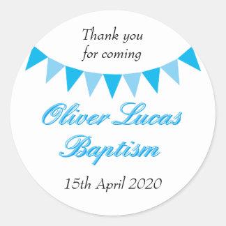 Baby Bunting Blue Baptism Christening Favor Round Sticker